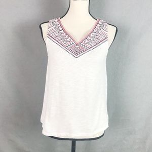THML Embroidered White Tank Top M Medium Petite